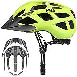 Casco de Bicicleta PHZING CE Certificado, Ajustable, para Adultos con Visor Desmontable, para Bicicleta, de Carretera o BMX, Color Verde, tamaño L-(22.8-23.6 in
