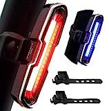 DONPEREGRINO 110 Lúmenes Luz Trasera Bicicleta Potente LED, Luz Bicicleta Trasera Recargable USB de Alto Brillo con 5 Modos Fijos e Intermitentes