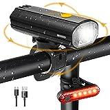 Luz Bicicleta LED Batería de 4000mAh IP65 Impermeable Luces de Bicicleta Delantera y Trasera Recargable USB Linterna 450LM Protección para Ciclismo, Carretera y Montaña