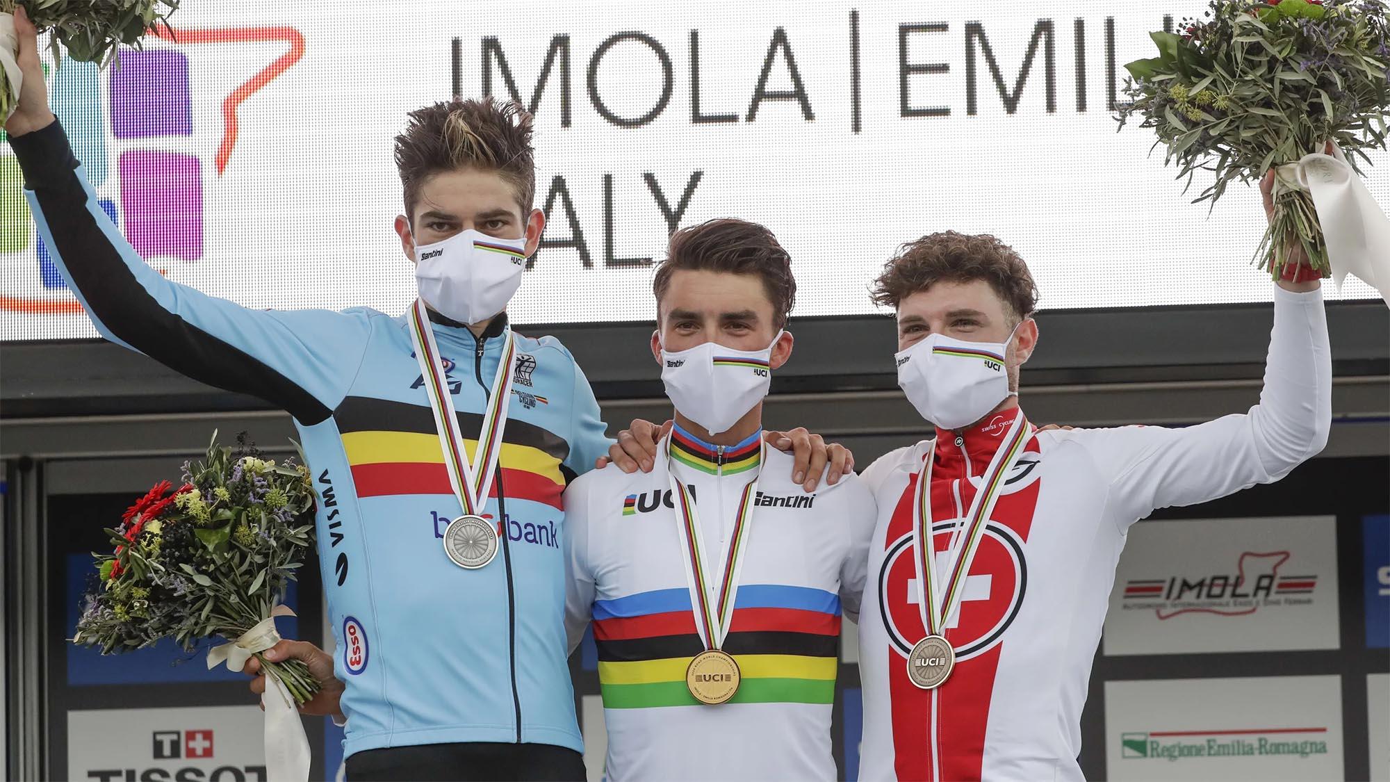 mundial ciclismo ruta 2020 clasificacion podium alaphilippe van aert hirschi