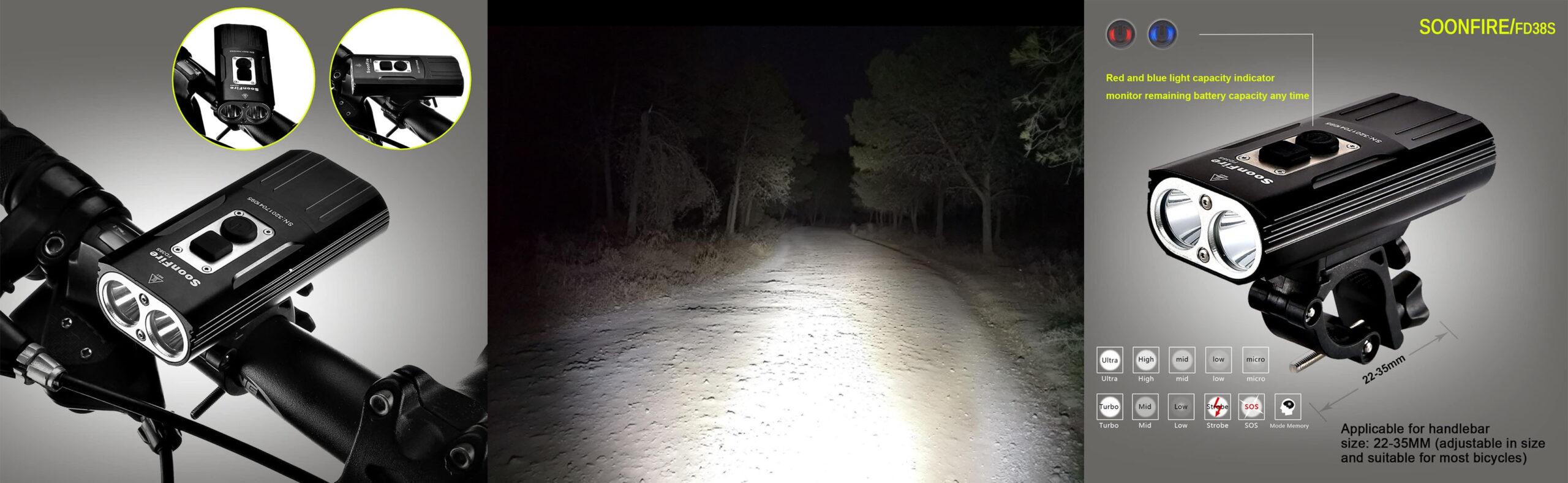 soonfire luz delantera bicicleta ciclismo